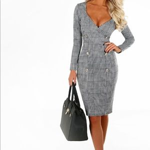 Born To Be Glam Monochrome Check Blazer Midi Dress